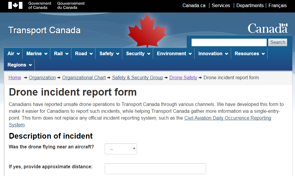 New Canadian Online Drone Incident Reporting Form – Incident Reporting Form